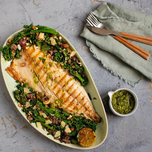 Simple grilled yellowtail with warm broccoli salad